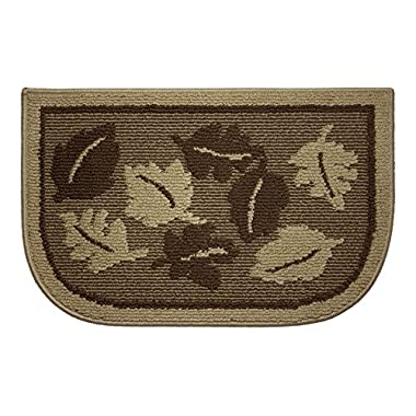 Structures Textured Livingston Leaves Non-Slip Wedge Shaped Kitchen Slice Rug, 18 by 28-Inch