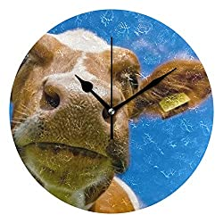 HangWang Wall Clock Yah Im Looking Cow Nose Real Sky Silent Non Ticking Decorative Round Digital Clocks for Home/Office/School Clock