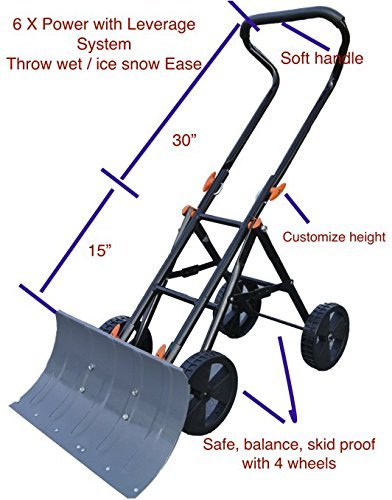 Variety To Go Snow Shovel with Wheels Adjustable Wheeled Snow Pusher, Heavy Duty Rolling Snow Plow Shovels with 8'' Wheels, Efficient Snow Plow Snow Removal Tool