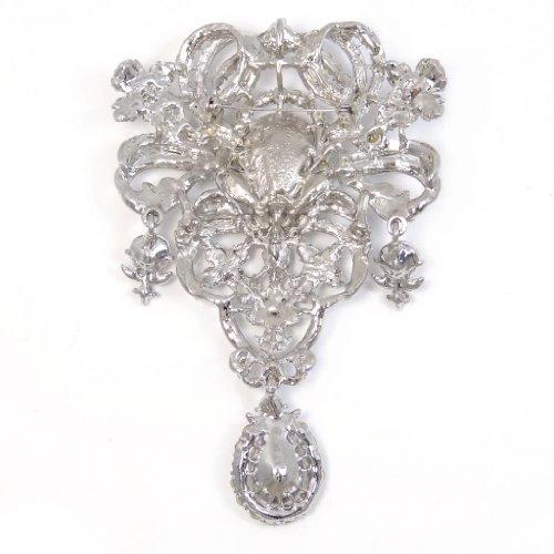 EVER FAITH Austrian Crystal Flower Bouquet Tear Drop Pendant Brooch Clear Silver-Tone Photo #5