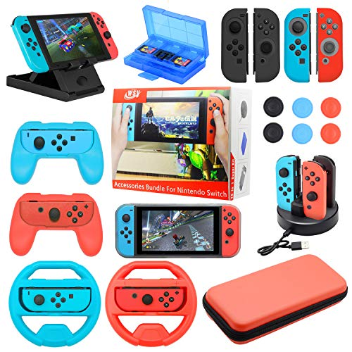 - Accessories Bundle For Nintendo Switch NS Essential gaming Kit with Switch Carry Case, 4-Channel Charging Dock, Joy con Grip,Compact PlayStand,Game Card Case  Covers Wheels Caps (19 in 1)