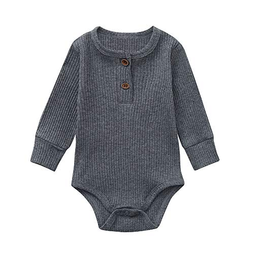 (Unisex Newborn Baby Boys Girls Solid Striped Organic Cotton Creeper Romper Fashion Long Sleeve Crewneck Button Jumpsuit (0-3 Months, Gray) )