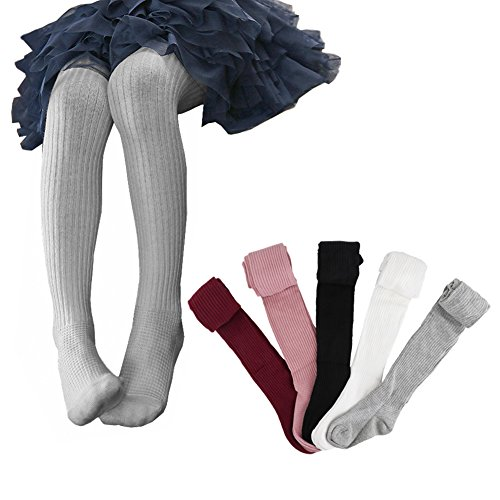 Ehdching 5 Pack Cute Cable Knit Cotton Tights Pantyhose Leggings Stocking Pants for Baby Toddler Kids Girls (S(1-3 Years), multicolor)