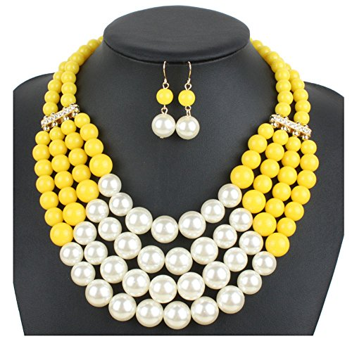 ndmade Multilayer Faux Pearl Bead Cluster Collar Bib Choker Necklace And Earrings Suit (Yellow) ()