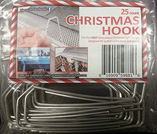 Christmas Hook - Christmas Light Hanger for Gutters with Mesh Leaf Guard Metal,compatible with All Mesh Leaf Guards in the Market