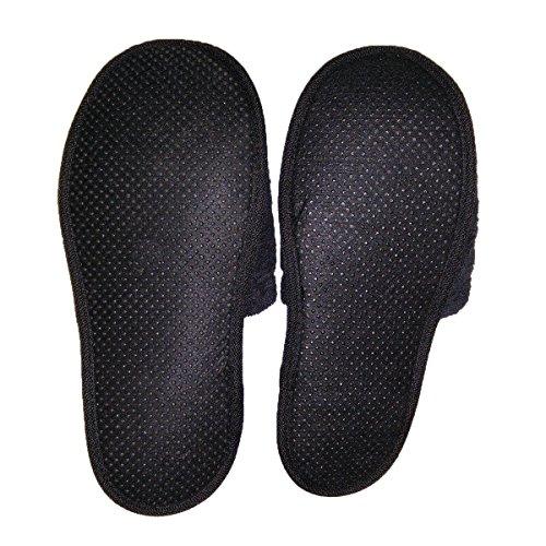 Zapatillas de baño de rizo, 100% algodón, 1 par oder 2 pares negro