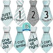 Original Stick'Nsnap (TM) 16 Baby Monthly Necktie Onesie Stickers - 'Happy Patterns' (TM), Turquoise/Gray. 12 Months +4 Bonus Milestones