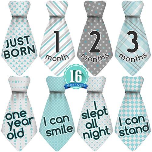 Baby boy shower gift amazon original sticknsnap tm 16 baby monthly necktie onesie stickers happy patterns tm turquoisegray 12 months 4 bonus milestones negle Images