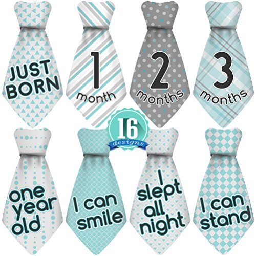 Original Stick'Nsnap (TM) 16 Baby Monthly Necktie Onesie Stickers - 'Happy Patterns' (TM), Turquoise/Gray. 12 Months +4 Bonus Milestones