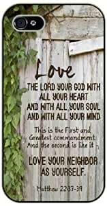 iPhone 4 / 4s Love the Lord your God, with all your heart - Matthew 22 - Bible verse - black plastic case / Life quotes, inspirational and motivational / Surelock Authentic