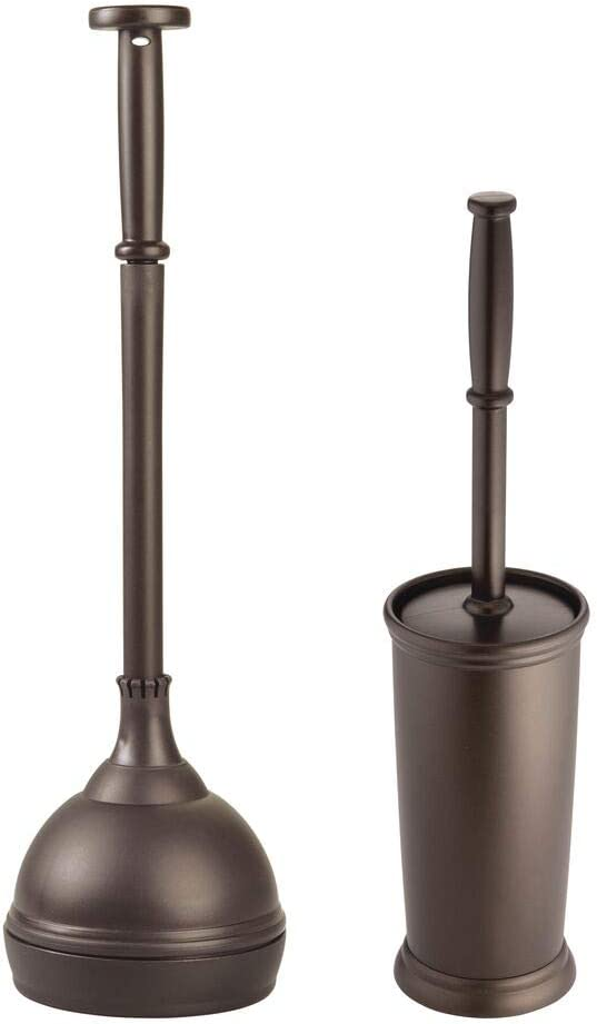 mDesign Modern Compact Plastic Toilet Bowl Brush and Plunger Combo Set with for Bathroom Storage and Organization - Sturdy, Heavy Duty, Deep Cleaning - Bronze: Home & Kitchen