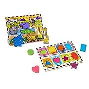Melissa & Doug Wooden Chunky Puzzle Set - Wild Safari Animals and Shapes