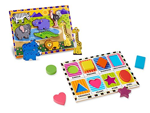 Melissa & Doug Wooden Chunky Puzzle Set - Wild Safari Animals and Shapes (Animal Shapes Puzzle)