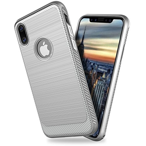 FourPlusOne iPhone X Case, iPhone 10 Cases, 2-Pieces Shockproof Slim Hybrid Defender Protective Case Cover For Apple iPhone X (Light (2 Piece Apple)