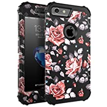 "iPhone 6 Plus Case,iPhone 6s Plus Case,SKYLMW Three Layer Heavy Duty High Impact Resistant Hybrid Protective Cover Case For iPhone 6 Plus/6s Plus (Only For 5.5"")Rose Flower/Black"
