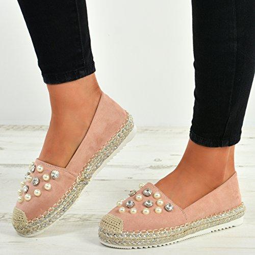 Slip Flat Ladies Pink on Size Pearl Cucu Shoes Espadrille UK Ballerina Fashion Studded New Womens wX6x61YIn