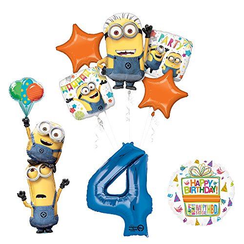 Despicable Me 3 Minions Stacker 4th Birthday Party Supplies and balloon Decorations