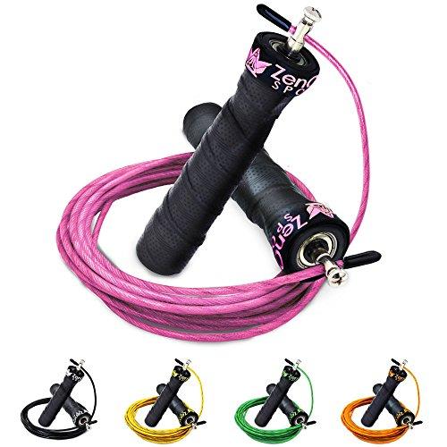 ZenRope - Speed Rope Springseil Sport mit GRATIS E-BOOK | Extra-Stahlseil, Tasche & Einstiegsguide