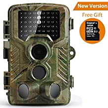 Trail Camera, Coolife HD 1080P 16MP 46 Infrared LEDs Waterproof IP56 Wildlife Camera 2.4'' LCD Screen Display Night Detection Vision 125 Degree PIR Lens Scouting Surveillance Camera including 32GB SD Card