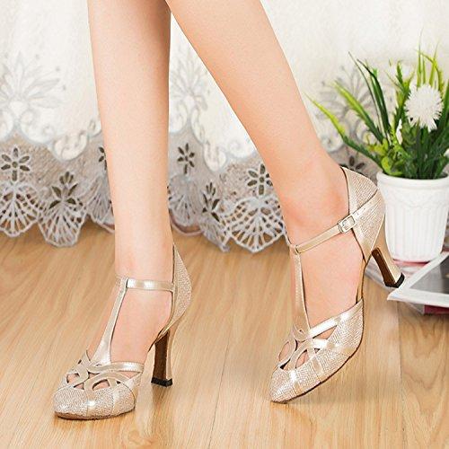 Minitoo - Zapatillas de danza de sintético para mujer Glitter-Champagne