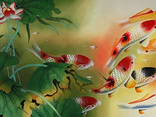 Koi Fish -Oil Painting On Canvas Modern Wall Art Pictures For Home Decoration Wooden Framed (12X16 Inch, (Fish Oil Paintings)