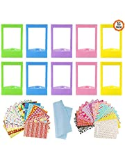 10 PCS Colorful Mini Photo Frames with 40 Sheets Colorful Photo Instant Films Sticker and 1Pcs Cleaning Cloth Compatible with Fujifilm Instax Mini 11 9 8 70 7s 90 26 Instant Camera Film 5 Colors