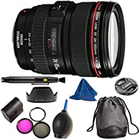 Canon EF 24-105mm f/4 L IS USM DBPREMIUM Lens Bundle + High Definition 3pc Filter Kit + Lens Cleaning Pen + Lens Blower Brush + Deluxe Pouch for Canon Digital SLR Cameras