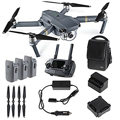 DJI Mavic PRO FLY MORE COMBO: Foldable Quadcopter Drone Kit with Remote, 3 Batteries, 16GB MicroSD, Charging Hub, Car Charger, Power Bank Adapter, Shoulder Bag. by DJI