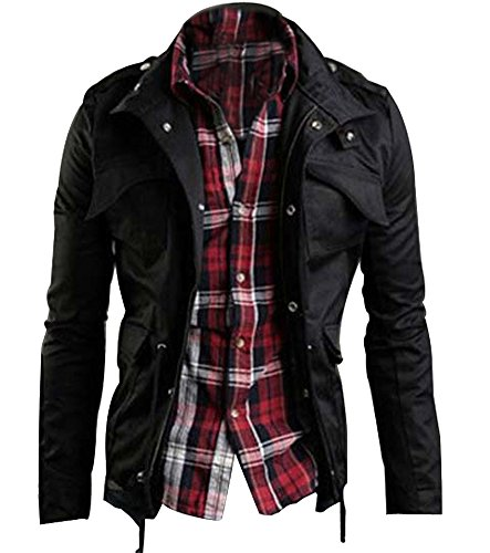 Zicac Men's Casual Fashion Military Zip Button Cotton Jacket Coat (US:L(Asian Tag 3XL),Black)