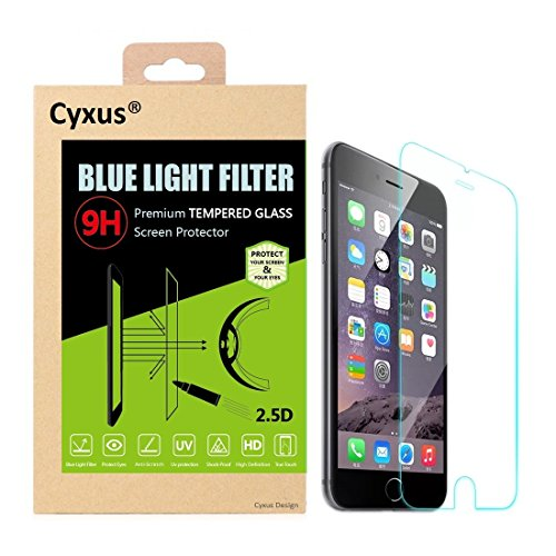 Cyxus Blue Light Filter [Sleep Better] UV Blocking 9H Tempered Glass Screen Protector for Apple iPhone 8/iPhone 7 (4.7 inch)