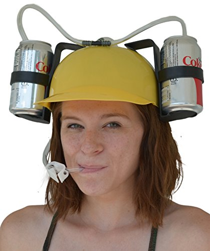 Fairly Odd Novelties Beer and Soda Guzzler Helmet and Drinking Party Hat, Yellow