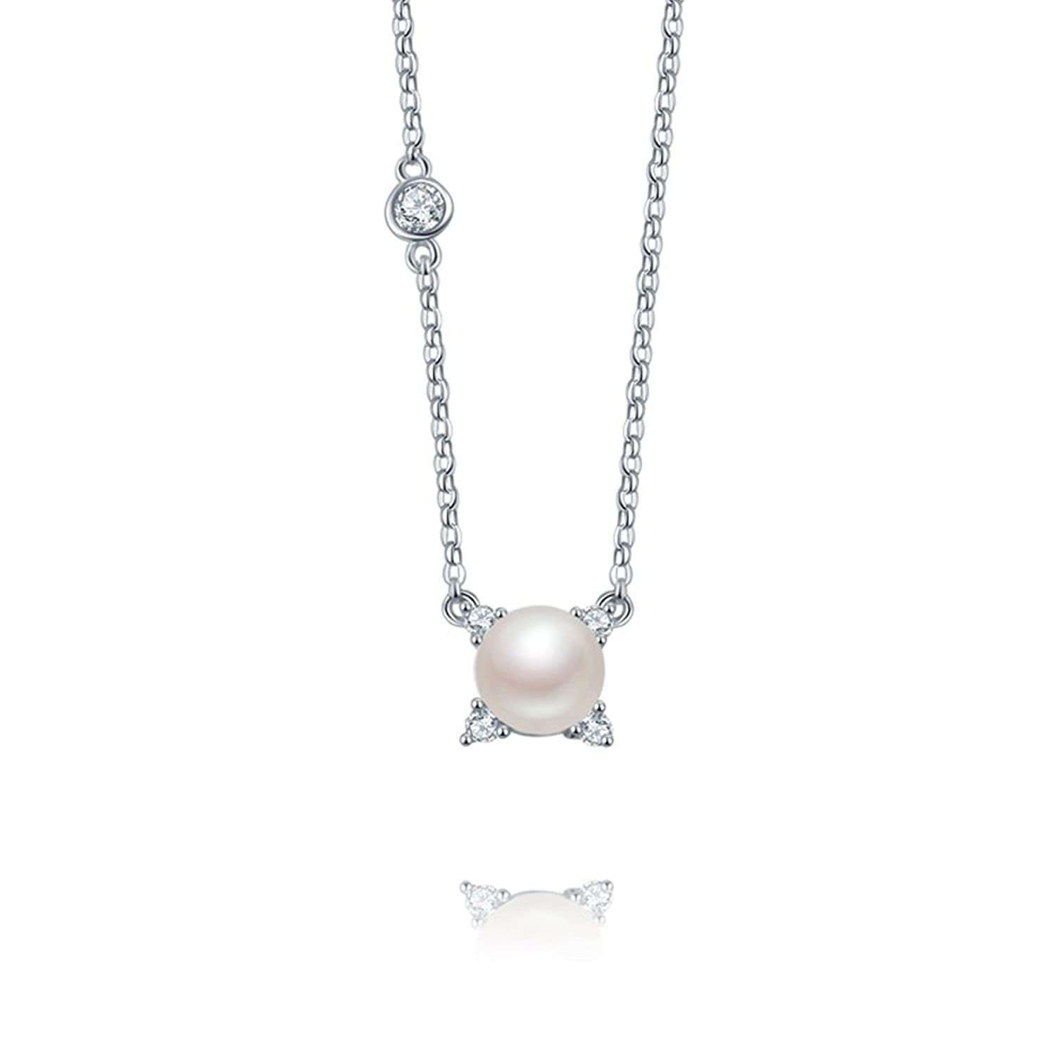 """Simple Charm""925 Sterling Silver Collarbone Necklace Pandent 16""-18"" with 8mm Freshwater Pearl"
