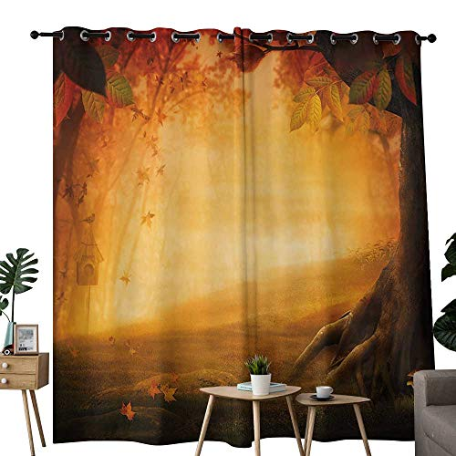 LewisColeridge Curtains Fall,Mysterious Valley with Mushrooms and Falling Leaves Bird House Fall Forest,Marigold Red Brown,Thermal Insulated Panels Home Décor Window Draperies for Bedroom 54