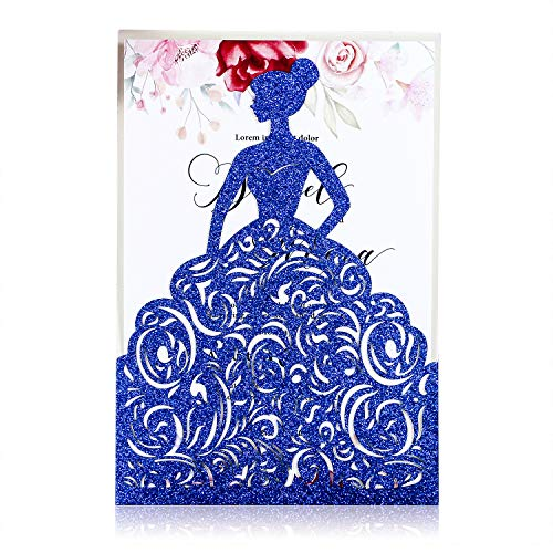 FEIYI 25PCS Laser Cut Wedding Invitations Cards for Birthday Sweet 15 Quinceañera Party Invite, Wedding Bridal Engagement Invite (Blue Glitter) (25 Wedding Invitations)