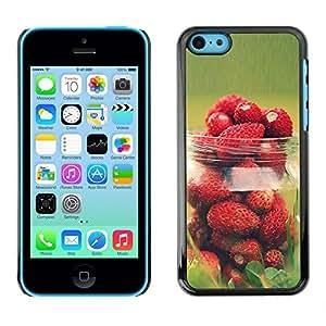 fraises sauvages Jar - Metal de aluminio y de plástico duro Caja del teléfono - Negro - iPhone 5C