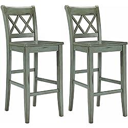 Ashley Furniture Signature Design - Mestler Bar Stool - Pub Height - Vintage Casual Style - Set of 2 - Blue/Green