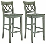 30 Inch Bar Stools with Back Ashley Furniture Signature Design - Mestler Bar Stool - Pub Height - Vintage Casual Style - Set of 2 - Blue / Green