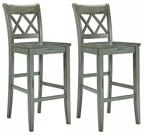 Cheap Ashley Furniture Signature Design – Mestler Bar Stool – Pub Height – Vintage Casual Style – Set of 2 – Blue / Green