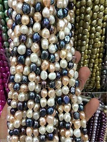 Fricgore, Handmade Jewelry, 8-9mm White Pink Purple Black Freshwater Pearl Baroque Loose Beads 14