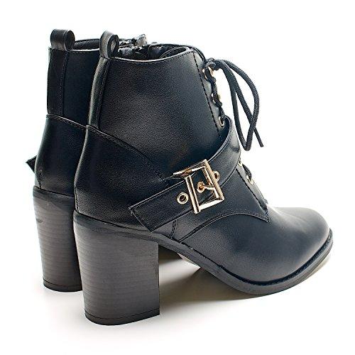 New dorado bloque de traje de neopreno para mujer de tacones de Zip Up para mujer Botas de cierre magnético de tobilleras con peso Chelsea zapatos de cadena de talla UK - negro