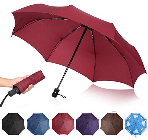 QHUMO Compact Travel Umbrella Windproof, Auto Open Close Umbrellas for Women Men by QHUMO