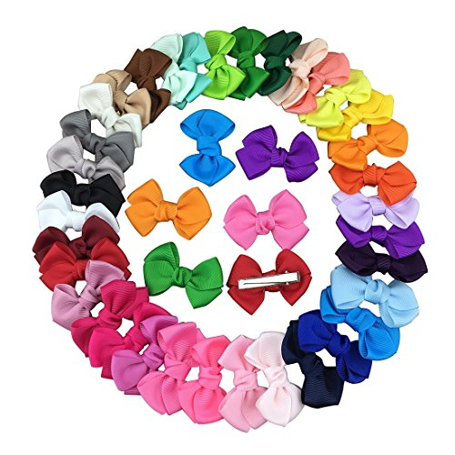 XIMA 35pcs 2.5inch Grosgrain Ribbon Hair Bows Clips for Dogs Baby Girls Teens Toddlers Hair Accessories (with Clip)
