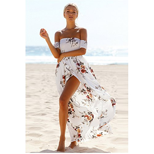 Women Boho Style Off Shoulder Beach Summer Long Dress (white, L)