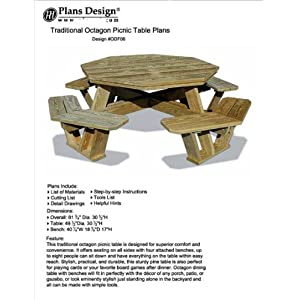 Traditional Octagon Picnic Table Set / Woodworking Out Door Furniture Plans Pattern #ODF06