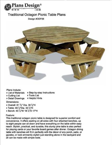 (Traditional Octagon Picnic Table Set / Woodworking Out Door Furniture Plans Pattern #ODF06)