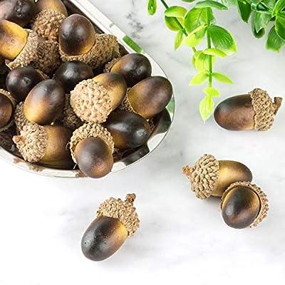 U_star 100 Pieces Artificial Acorn Craft Acorns Decor Fake Fruit Props Acorns Crafting for DIY Home Party Wedding Decor Vase Filler Decoration Thanksgiving Christmas Festival (Dark Brown)