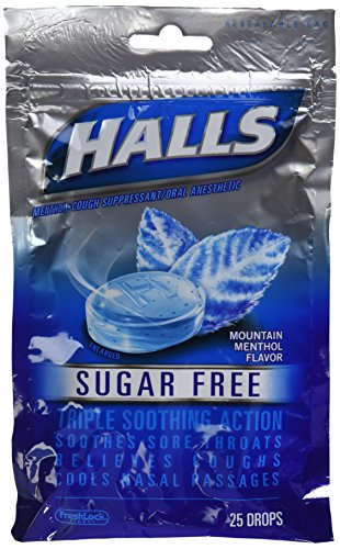 Cos5 Halls Sugar Free Mountain Menthol Flavor of Triple Soothing Action Fast Relief Cough Suppressant - 3 Bags of 25 Cough Drops (75 Drops Total)