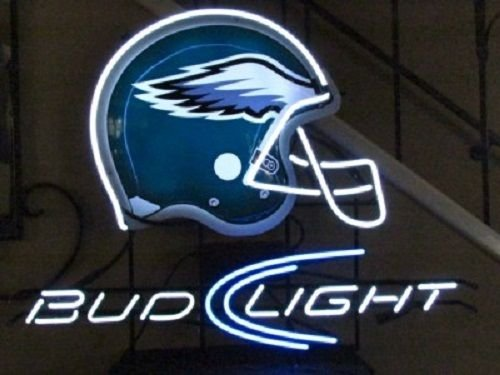 "Desung New 17""x13"" Bud-Light Philadelphia Sports Team Eagle Helmet Neon Sign (Multiple Sizes Available) Man Cave Signs Sports Bar Pub Beer Neon Lights Lamp Glass Neon Light CX221"