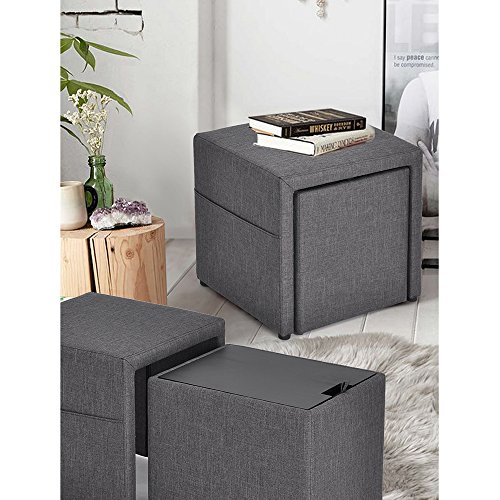 HOMY CASA 17'' Storage Ottoman w/Pull Out Drawer & Side Pocket - Gray Linen - Square Foot Rest Stool, Small Cube Table Ottomans by HOMY CASA (Image #1)