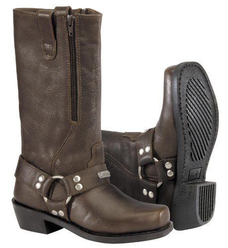 River Road Women's Square Toe Zipper Harness Boots - 7.5/Brown